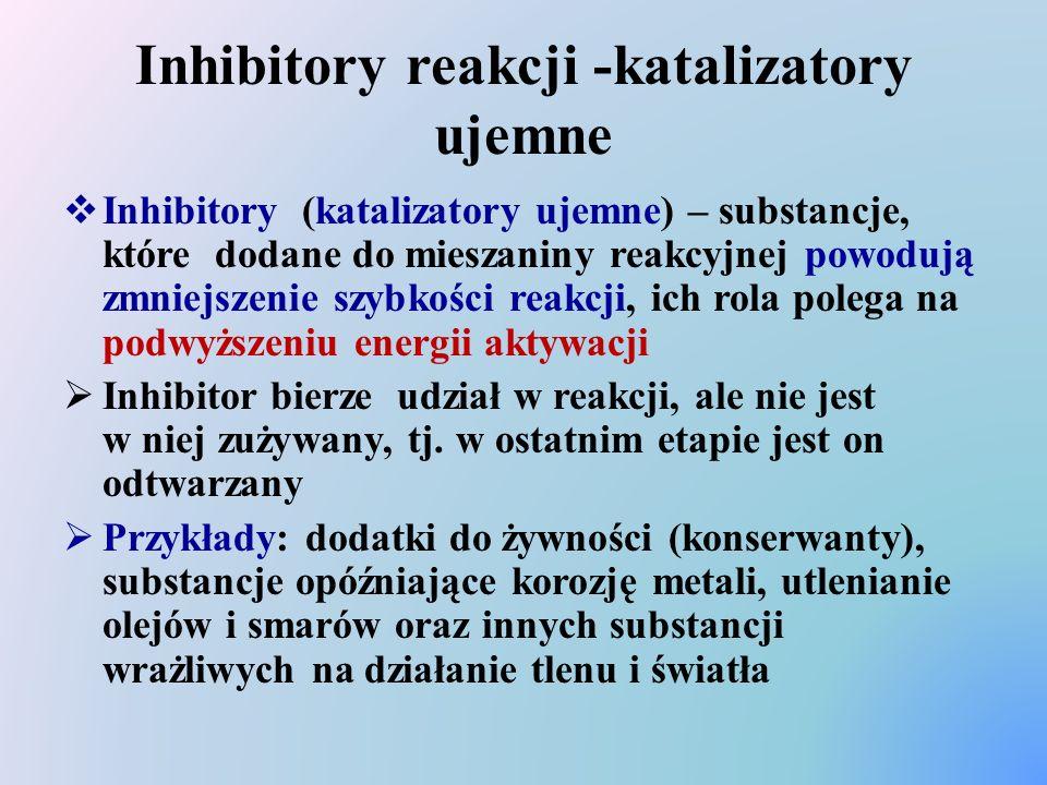 Inhibitory reakcji -katalizatory ujemne