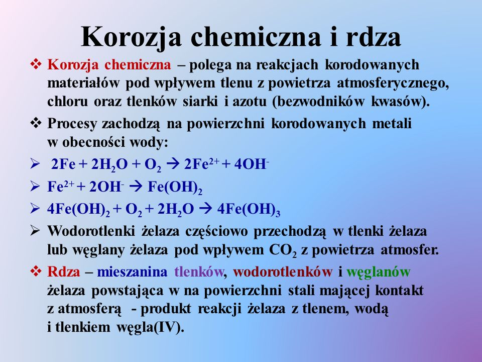 Korozja chemiczna i rdza