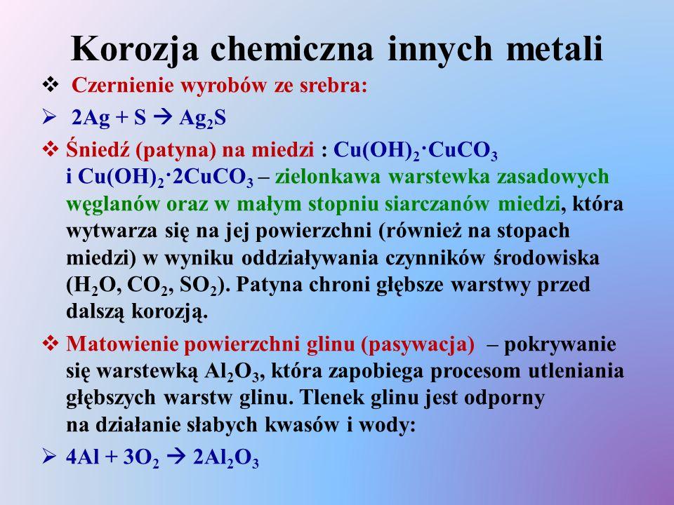 Korozja chemiczna innych metali
