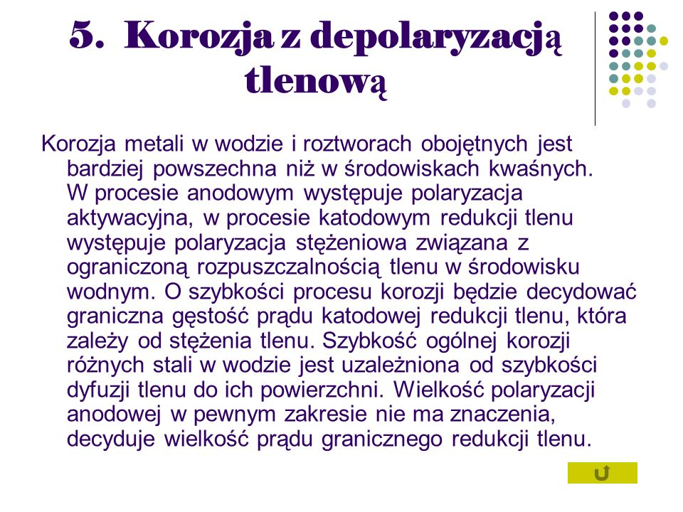 5. Korozja z depolaryzacją tlenową