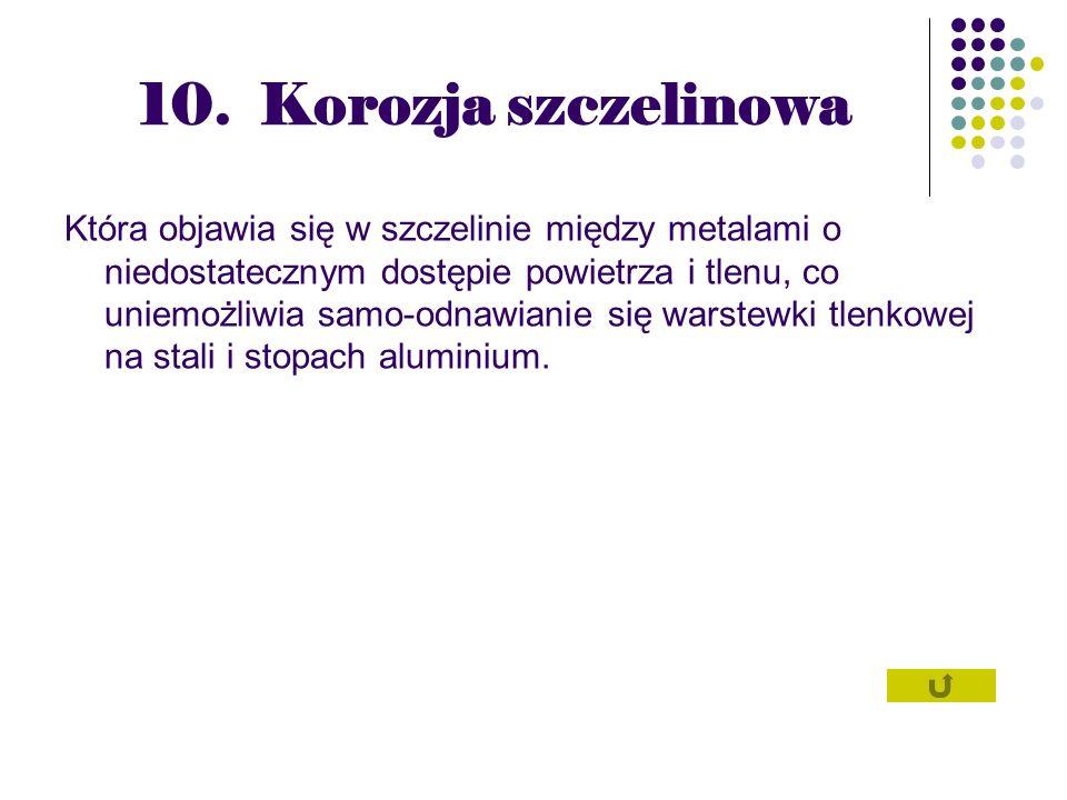 10. Korozja szczelinowa