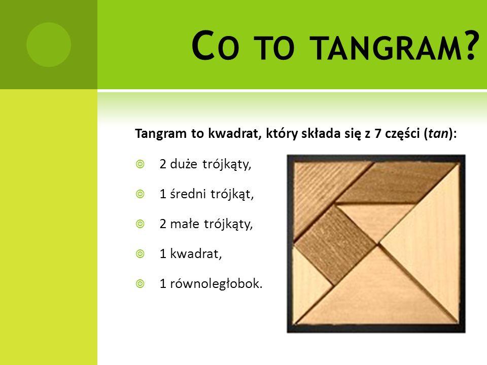 Co to tangram Tangram to kwadrat, który składa się z 7 części (tan):