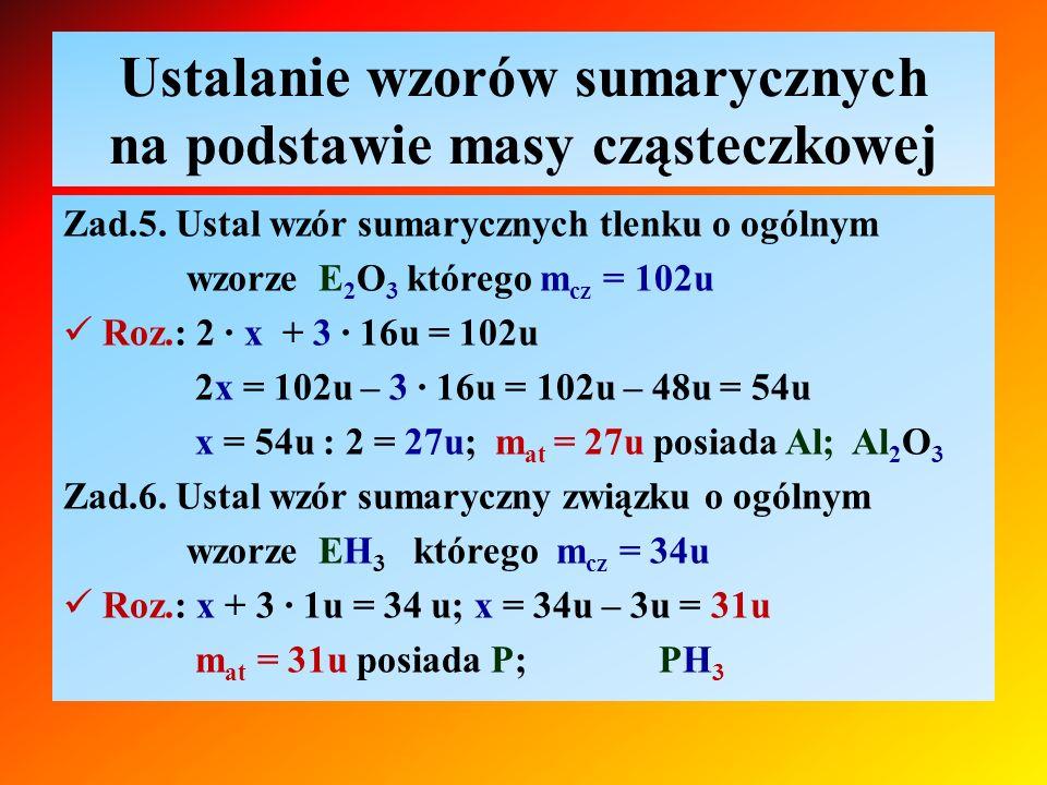 Ustalanie wzorów sumarycznych na podstawie masy cząsteczkowej