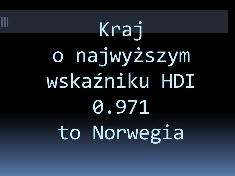 Kraj o najwyższym wskaźniku HDI 0.971 to Norwegia