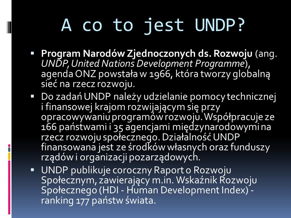 A co to jest UNDP