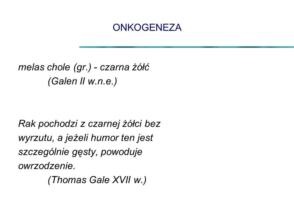 ONKOGENEZA melas chole (gr.) - czarna żółć. (Galen II w.n.e.) Rak pochodzi z czarnej żółci bez. wyrzutu, a jeżeli humor ten jest.