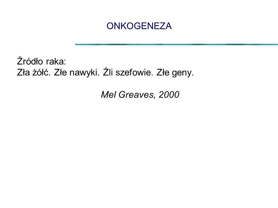 ONKOGENEZA Źródło raka: Zła żółć. Złe nawyki. Źli szefowie. Złe geny. Mel Greaves, 2000