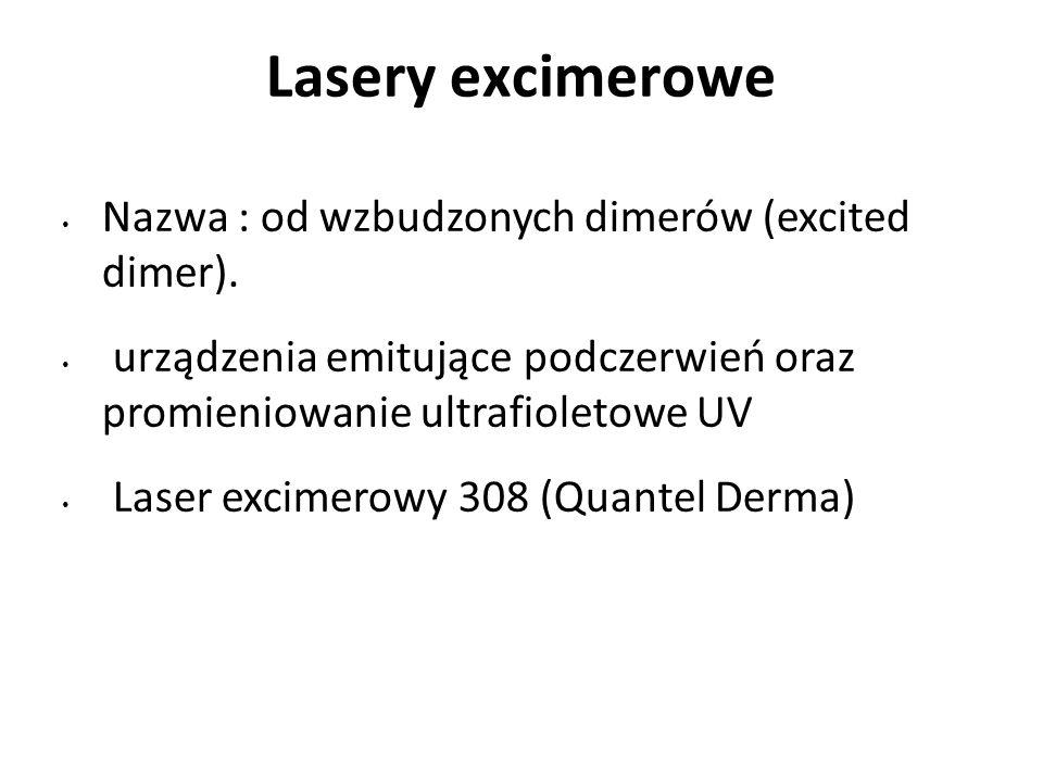 Lasery excimerowe Nazwa : od wzbudzonych dimerów (excited dimer).