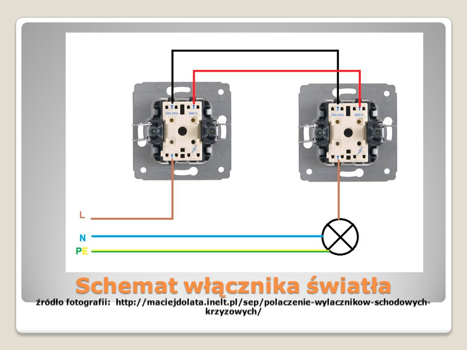 Schemat włącznika światła źródło fotografii: http://maciejdolata.inelt.pl/sep/polaczenie-wylacznikow-schodowych-krzyzowych/