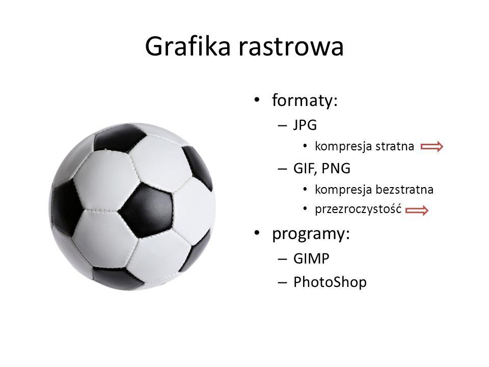 Grafika rastrowa formaty: programy: JPG GIF, PNG GIMP PhotoShop