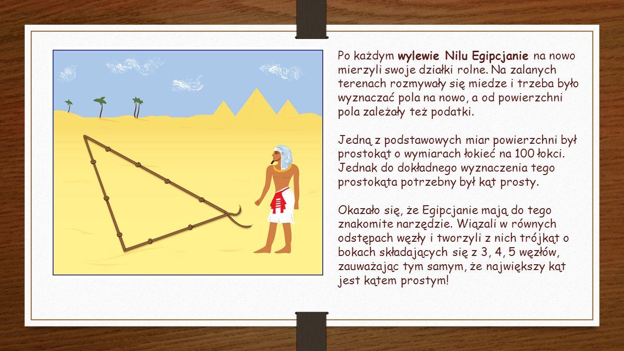 Po każdym wylewie Nilu Egipcjanie na nowo mierzyli swoje działki rolne