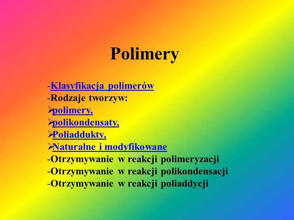 Polimery Klasyfikacja polimerów Rodzaje tworzyw: polimery,
