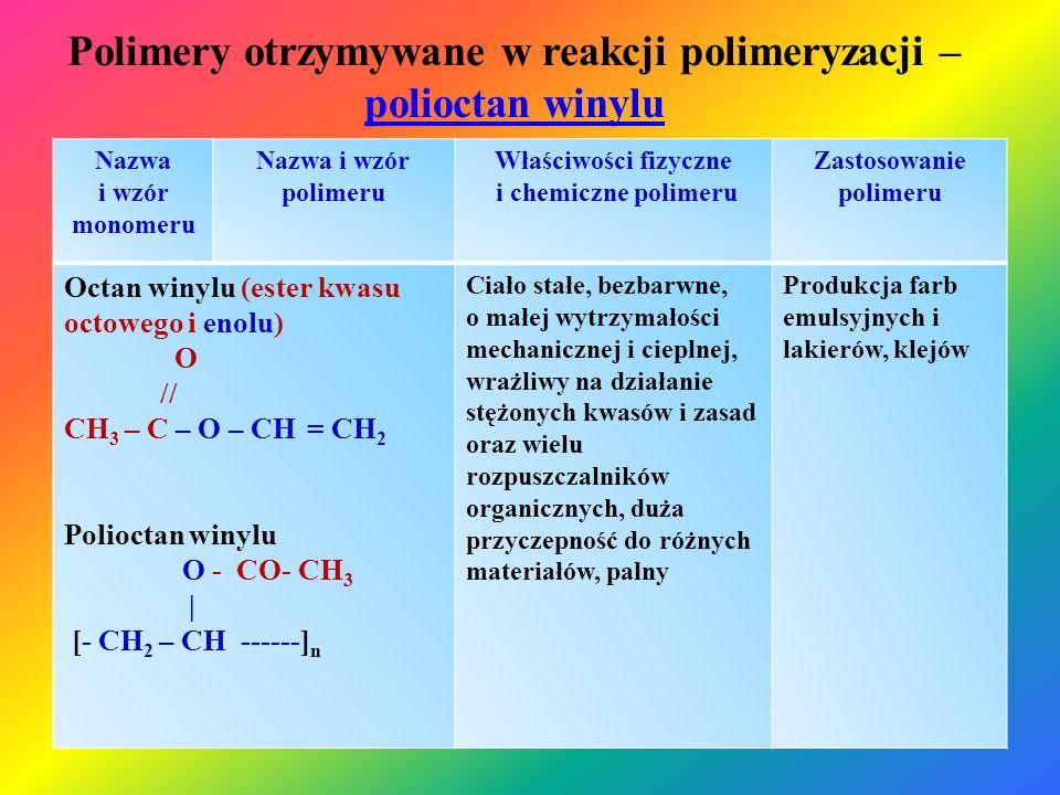 Polimery otrzymywane w reakcji polimeryzacji – polioctan winylu