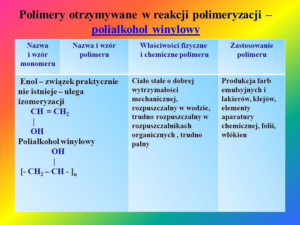 Polimery otrzymywane w reakcji polimeryzacji – polialkohol winylowy