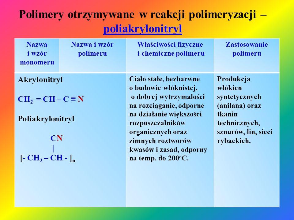 Polimery otrzymywane w reakcji polimeryzacji – poliakrylonitryl