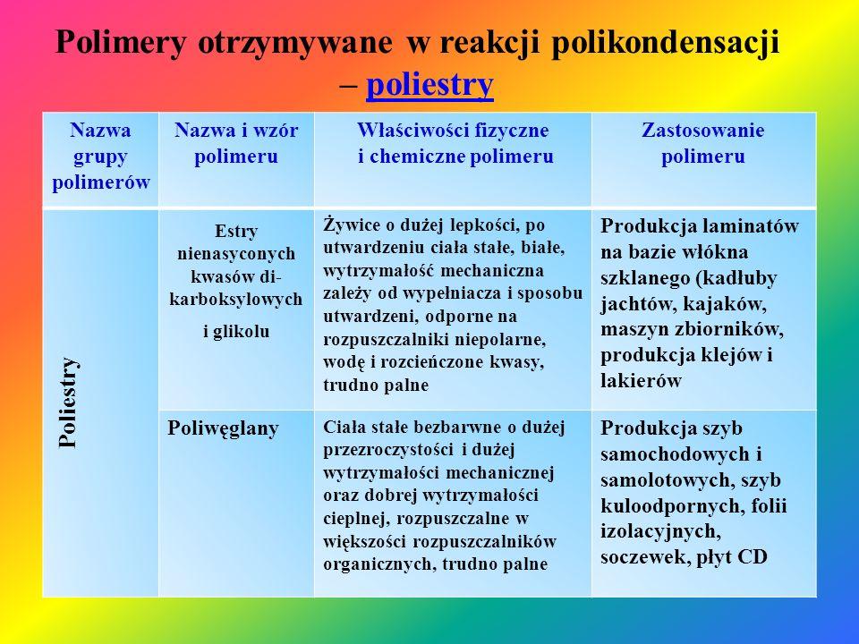 Polimery otrzymywane w reakcji polikondensacji – poliestry