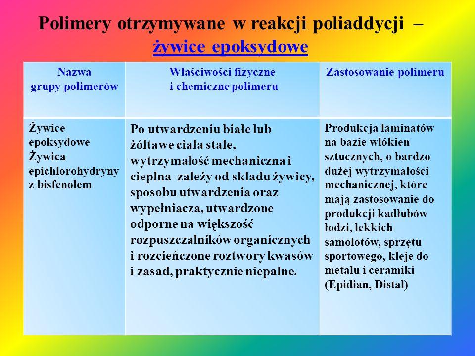Polimery otrzymywane w reakcji poliaddycji – żywice epoksydowe