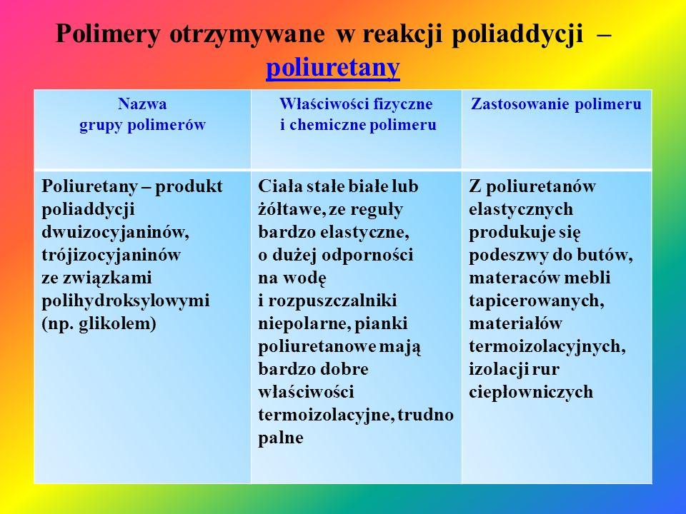 Polimery otrzymywane w reakcji poliaddycji – poliuretany
