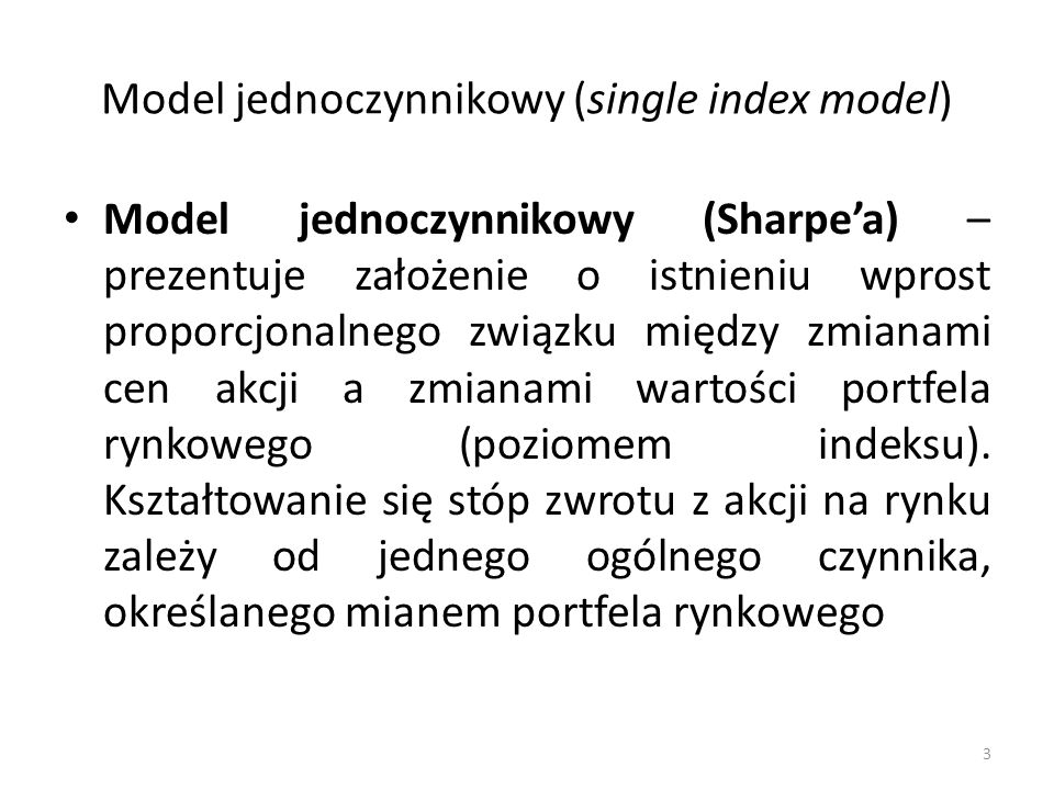 Model jednoczynnikowy (single index model)