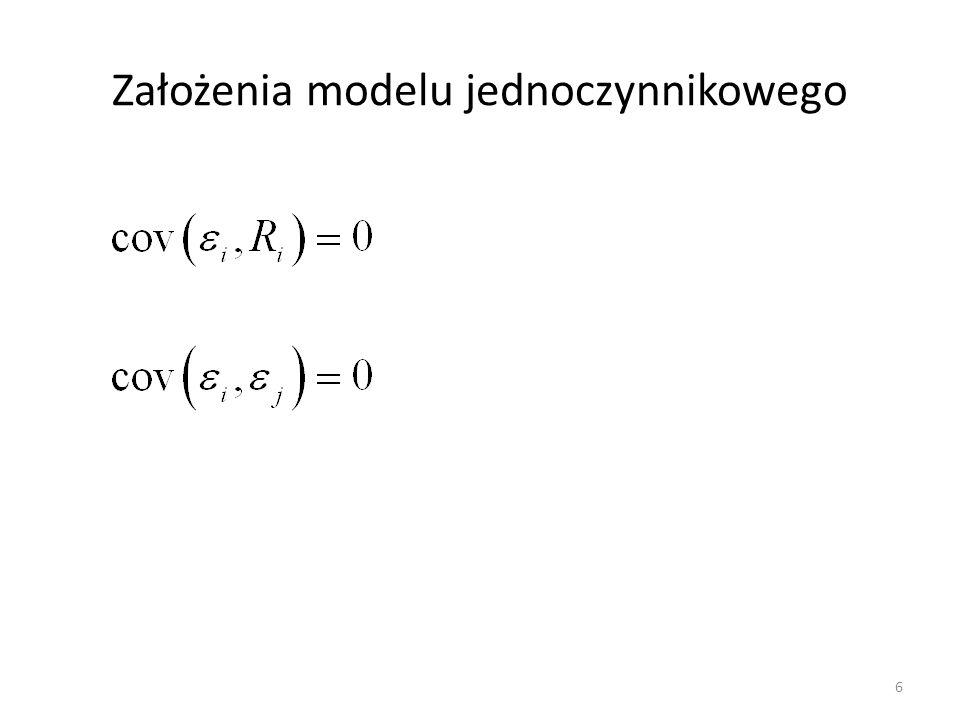 Założenia modelu jednoczynnikowego