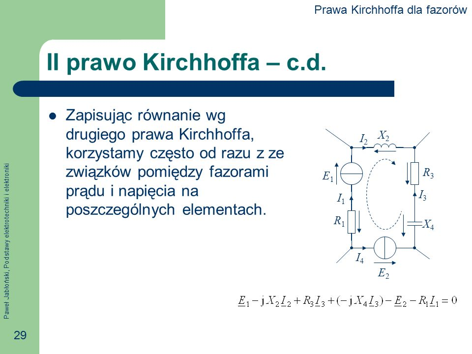 II prawo Kirchhoffa – c.d.