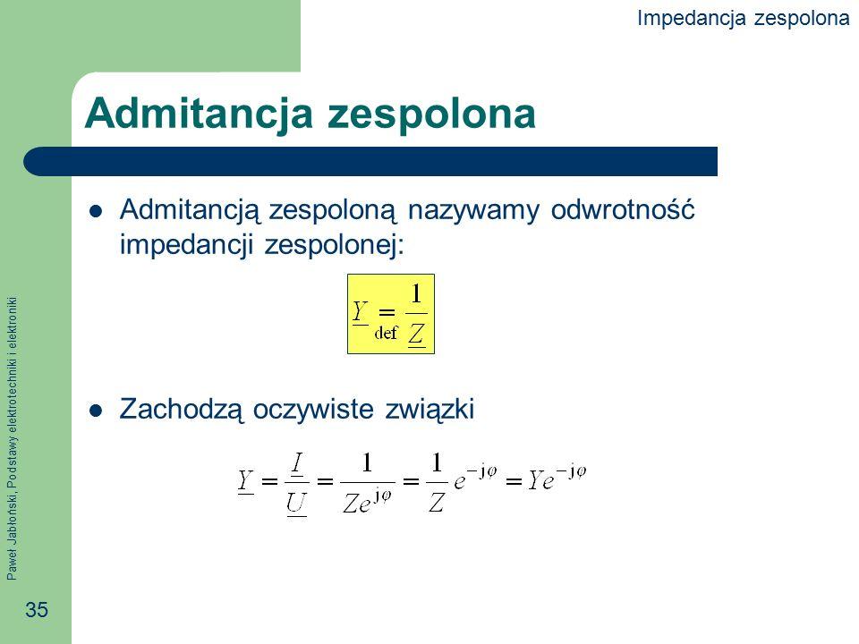 Impedancja zespolona Admitancja zespolona. Admitancją zespoloną nazywamy odwrotność impedancji zespolonej: