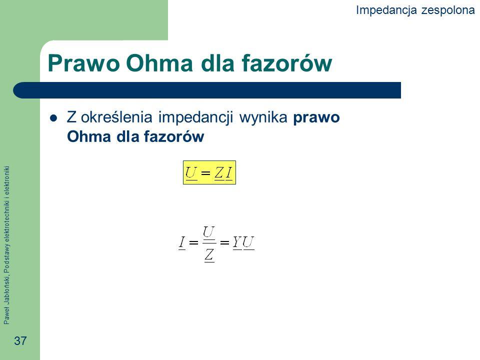 Impedancja zespolona Prawo Ohma dla fazorów Z określenia impedancji wynika prawo Ohma dla fazorów