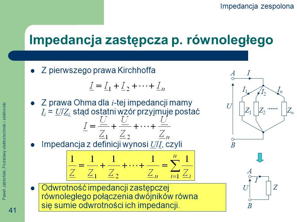 Impedancja zastępcza p. równoległego