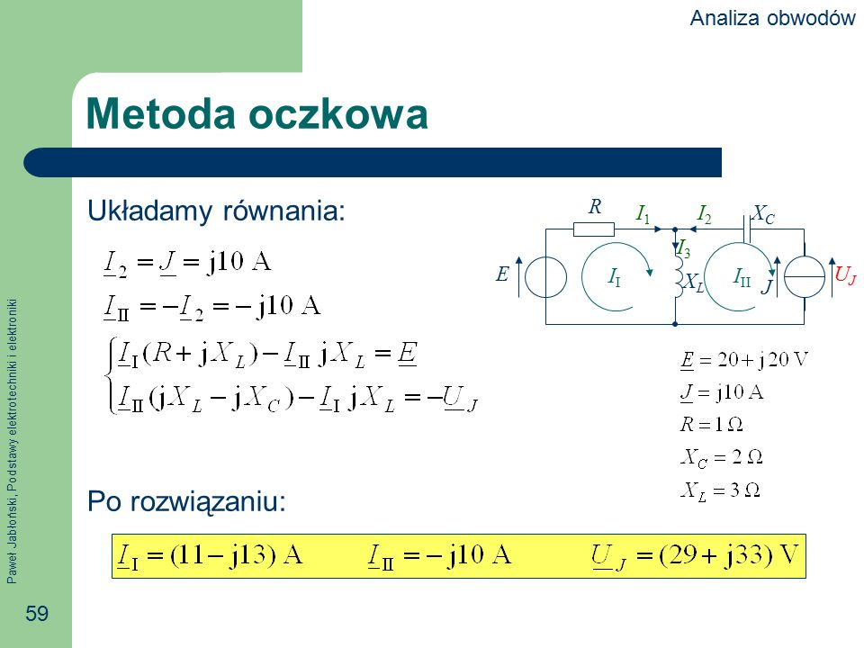 Metoda oczkowa Układamy równania: Po rozwiązaniu: Analiza obwodów R E
