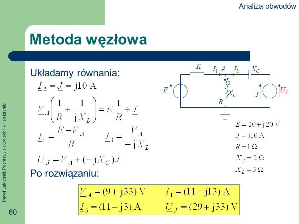 Metoda węzłowa Układamy równania: Po rozwiązaniu: Analiza obwodów R E