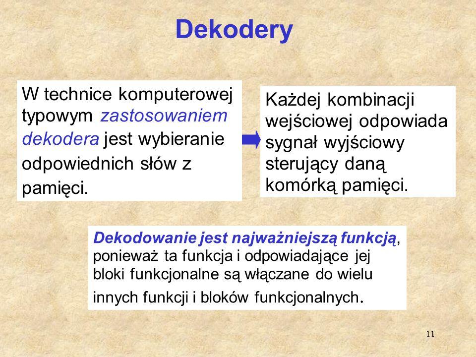 Dekodery W technice komputerowej typowym zastosowaniem dekodera jest wybieranie odpowiednich słów z pamięci.
