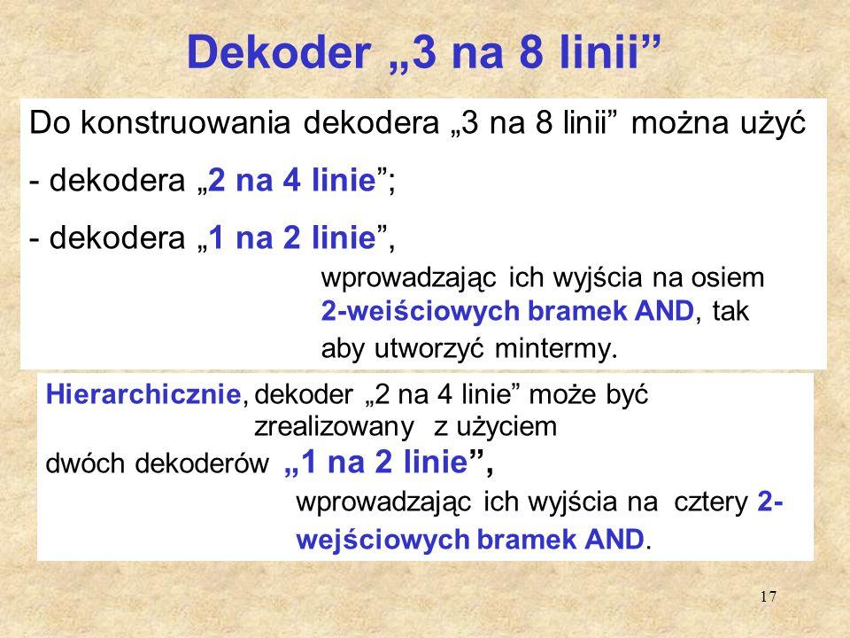 """Dekoder """"3 na 8 linii Do konstruowania dekodera """"3 na 8 linii można użyć. dekodera """"2 na 4 linie ;"""