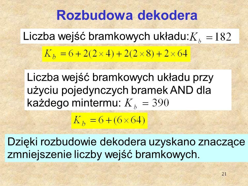 Rozbudowa dekodera Liczba wejść bramkowych układu: