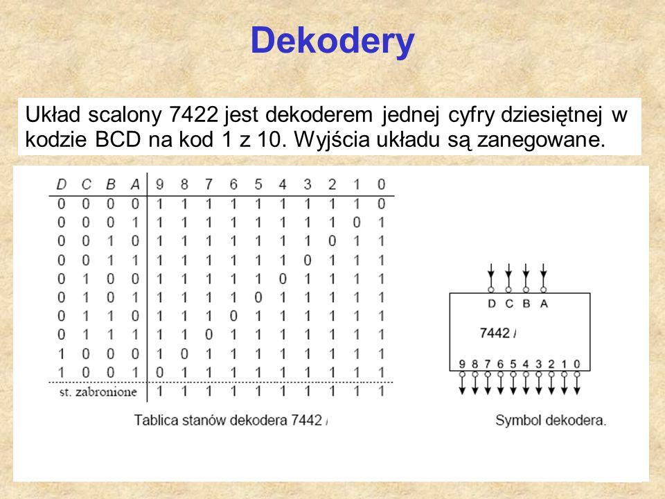 Dekodery Układ scalony 7422 jest dekoderem jednej cyfry dziesiętnej w kodzie BCD na kod 1 z 10.