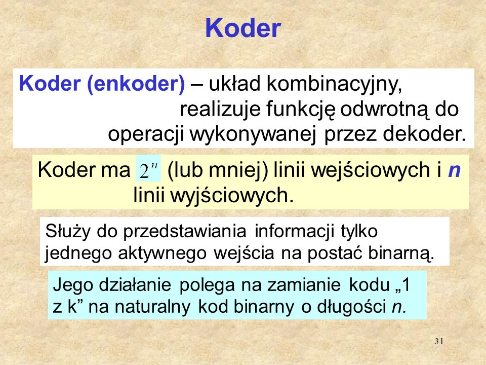 Koder Koder (enkoder) – układ kombinacyjny,