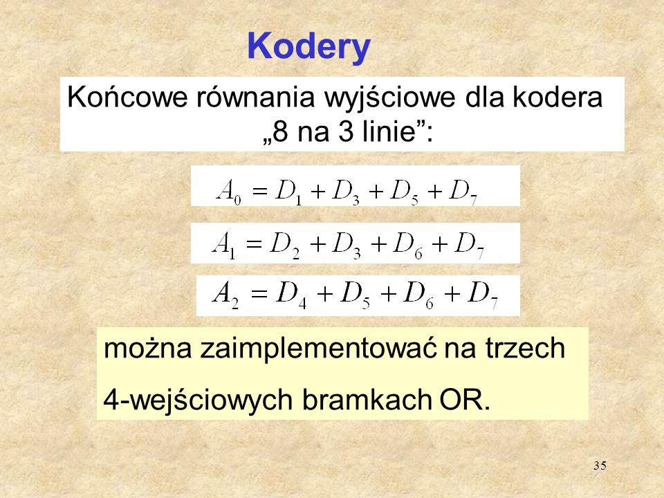 """Kodery Końcowe równania wyjściowe dla kodera """"8 na 3 linie : b"""