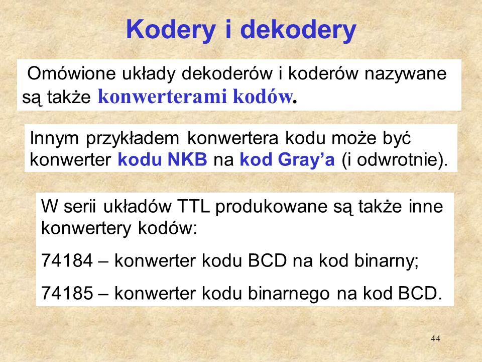 Kodery i dekodery Omówione układy dekoderów i koderów nazywane są także konwerterami kodów.