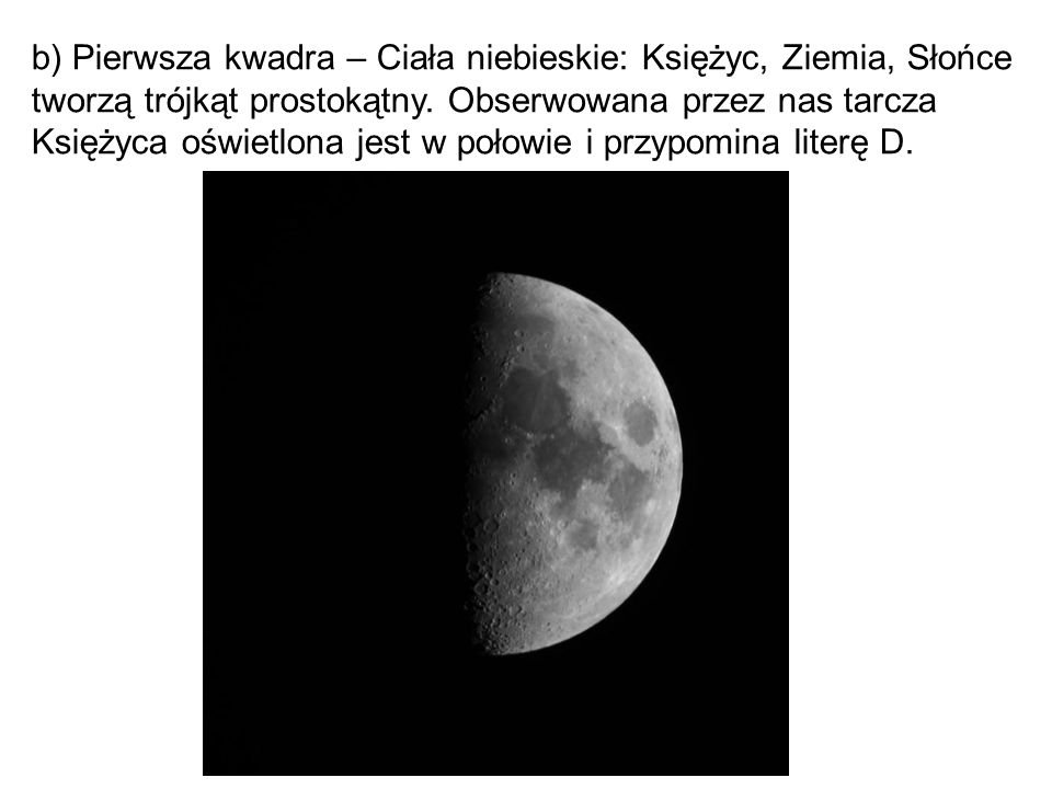 b) Pierwsza kwadra – Ciała niebieskie: Księżyc, Ziemia, Słońce tworzą trójkąt prostokątny.