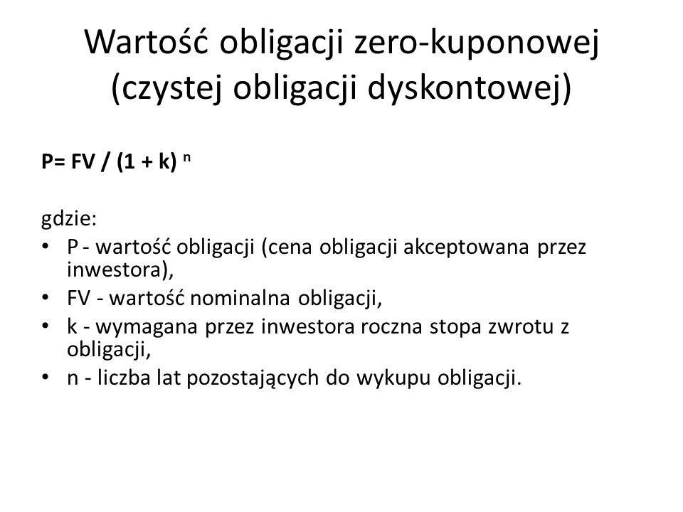 Wartość obligacji zero-kuponowej (czystej obligacji dyskontowej)