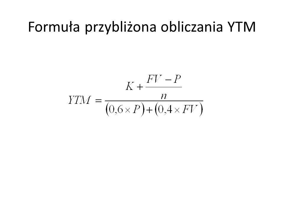 Formuła przybliżona obliczania YTM