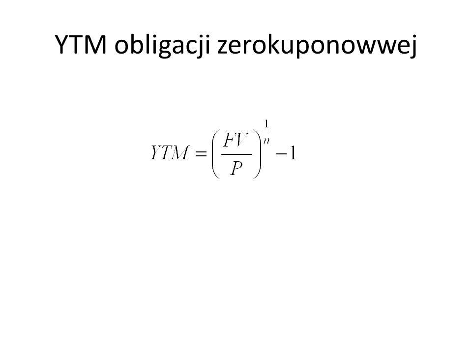 YTM obligacji zerokuponowwej