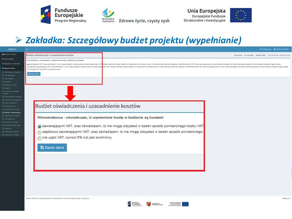 Zakładka: Szczegółowy budżet projektu (wypełnianie)