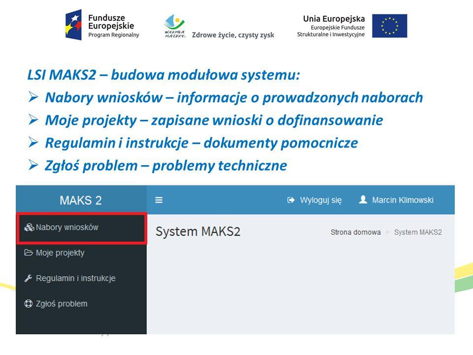 LSI MAKS2 – budowa modułowa systemu: