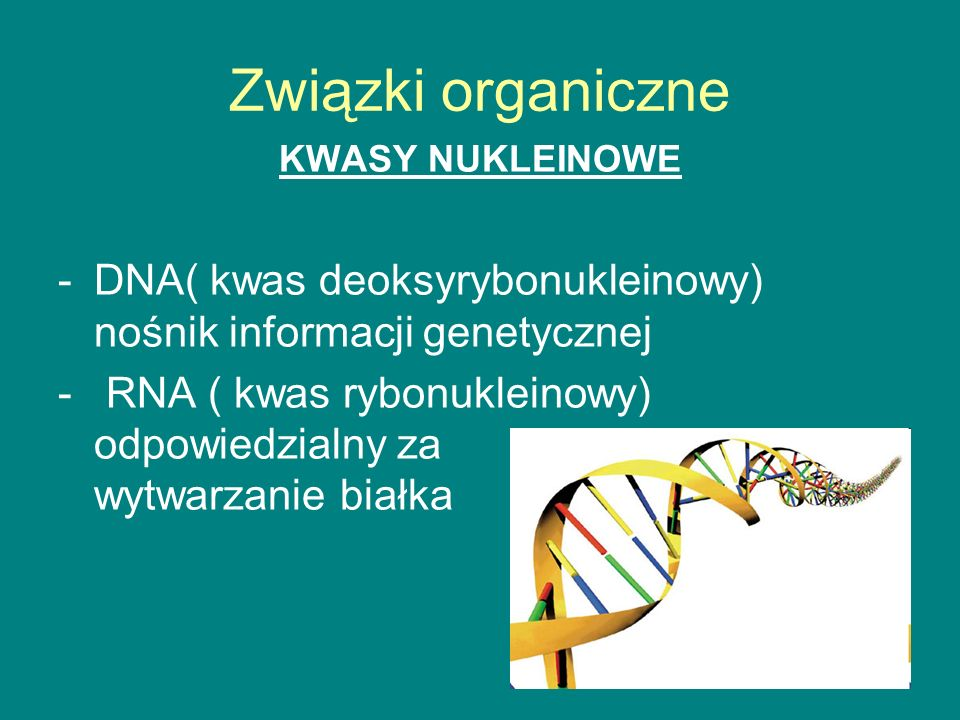 Związki organiczne KWASY NUKLEINOWE. DNA( kwas deoksyrybonukleinowy) nośnik informacji genetycznej.