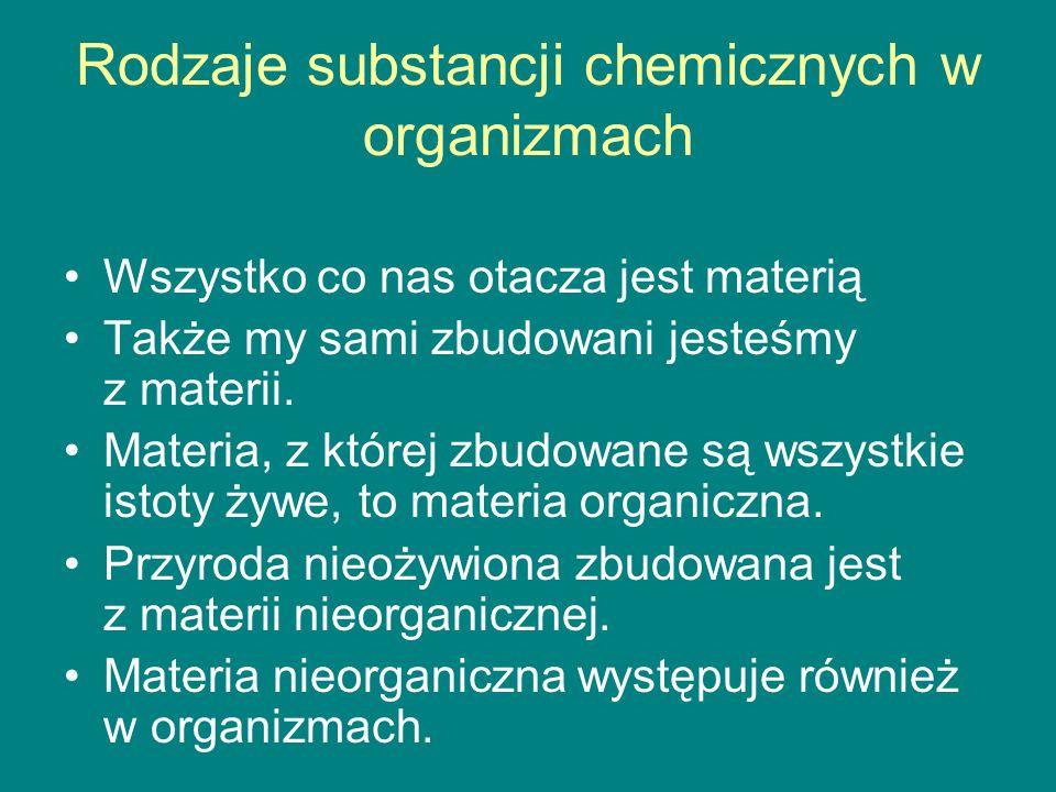 Rodzaje substancji chemicznych w organizmach