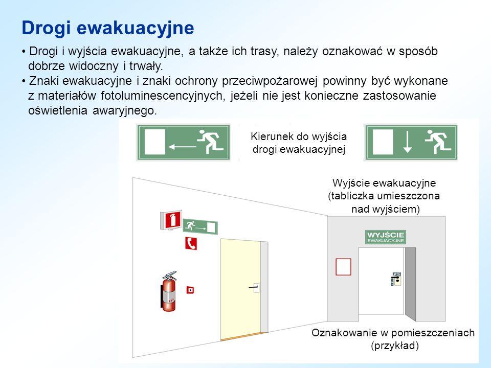 Drogi ewakuacyjne Drogi i wyjścia ewakuacyjne, a także ich trasy, należy oznakować w sposób. dobrze widoczny i trwały.