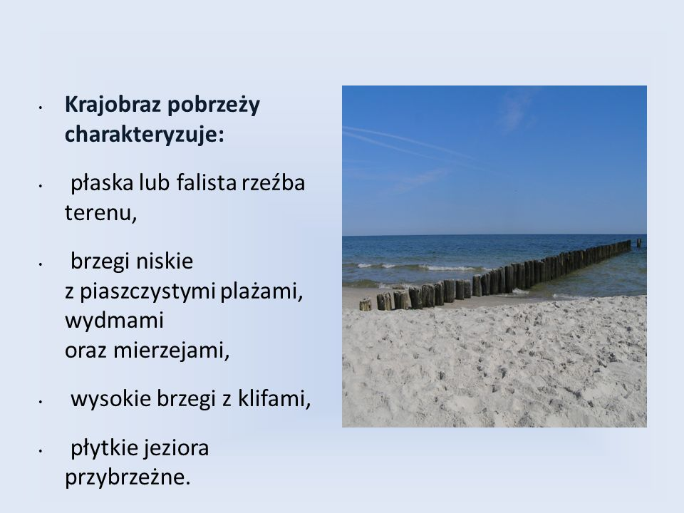 Krajobraz pobrzeży charakteryzuje: