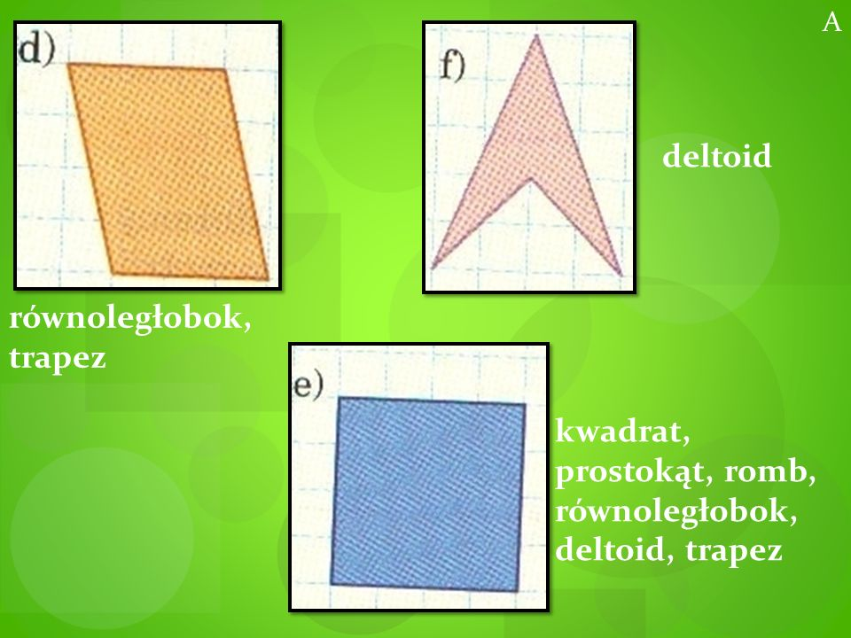 kwadrat, prostokąt, romb, równoległobok, deltoid, trapez
