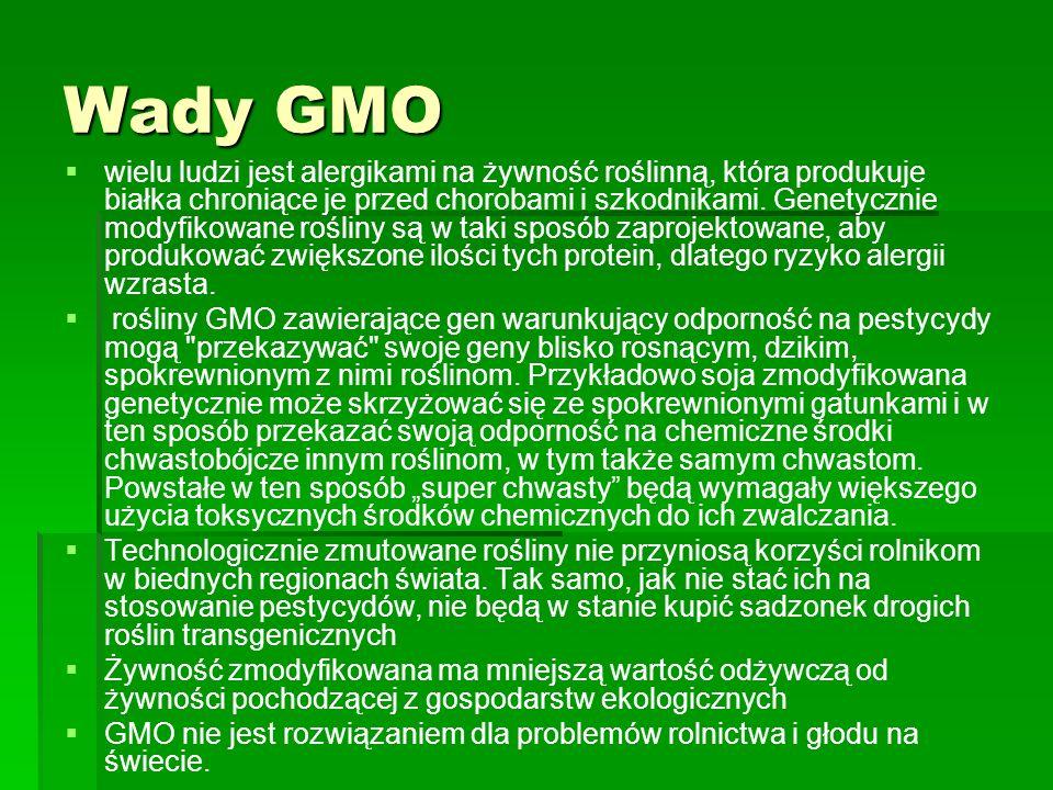 Wady GMO