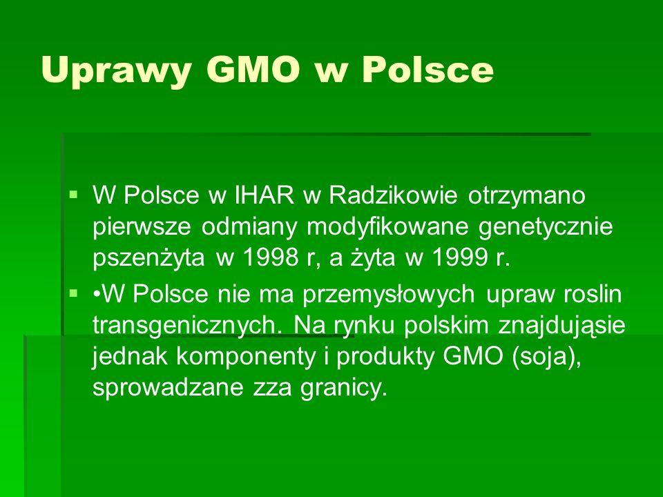 Uprawy GMO w Polsce W Polsce w IHAR w Radzikowie otrzymano pierwsze odmiany modyfikowane genetycznie pszenżyta w 1998 r, a żyta w 1999 r.